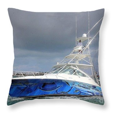 Boat Wrap On Cabo Throw Pillow by Carey Chen