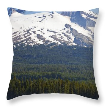 Boating In Trillium Lake With Mount Throw Pillow by Craig Tuttle