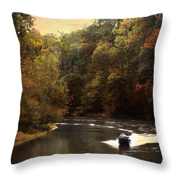 Boating On The Hatchie Throw Pillow by Jai Johnson