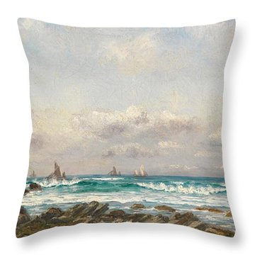 Boats At Sea Throw Pillow by William Lionel Wyllie