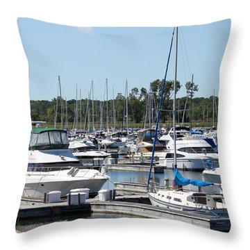 Throw Pillow featuring the photograph Boats At Winthrop Harbor by Debbie Hart