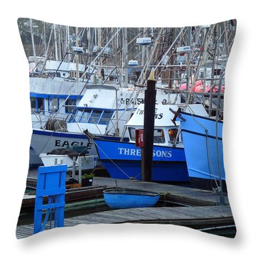 Boats Docked In Harbor Throw Pillow by Jeff Lowe