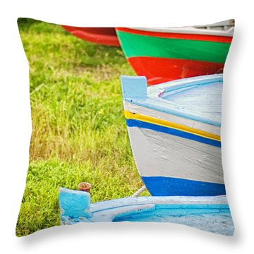 Boats In A Row II Throw Pillow by Silvia Ganora