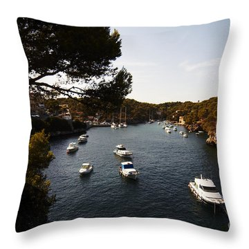 Boats In Cala Figuera Throw Pillow