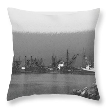 Boats In Harbor Charcoal Throw Pillow by Chalet Roome-Rigdon