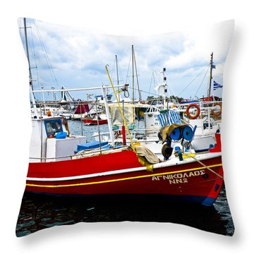 Boats Off Naxos Throw Pillow