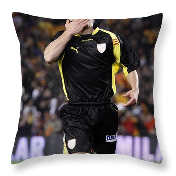 Bojan Krkic Celebrating A Goal 2 Throw Pillow