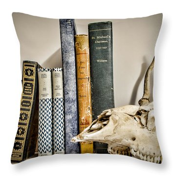 Books And Bones Throw Pillow by Heather Applegate