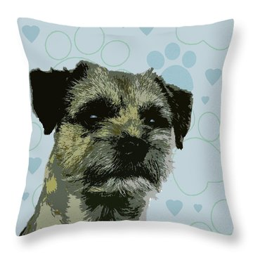 Border Terrier Throw Pillow by One Rude Dawg Orcutt