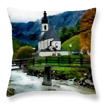 Throw Pillow featuring the painting Bosnian Country Church by Jann Paxton