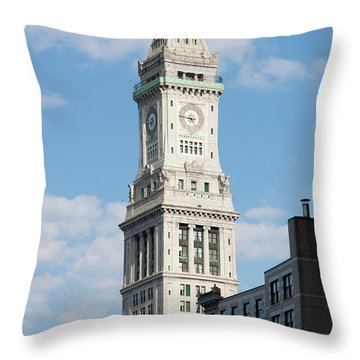Boston Custom House Tower Throw Pillow by Clarence Holmes