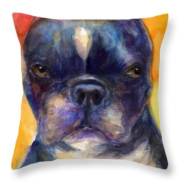 Boston Terrier Dog Portrait Painting In Watercolor Throw Pillow