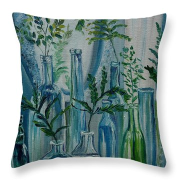 Throw Pillow featuring the painting Bottle Brigade by Julie Brugh Riffey