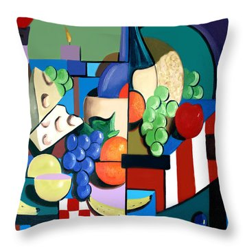 Bottle Of Wine Fruit Of The Vine Throw Pillow by Anthony Falbo