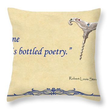 Bottled Poetry Throw Pillow by Elaine Plesser