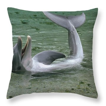 Bottlenose Dolphin Playing In Shallows Throw Pillow