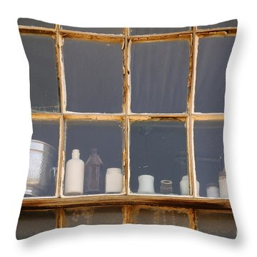 Bottles In The Window Throw Pillow by Vivian Christopher