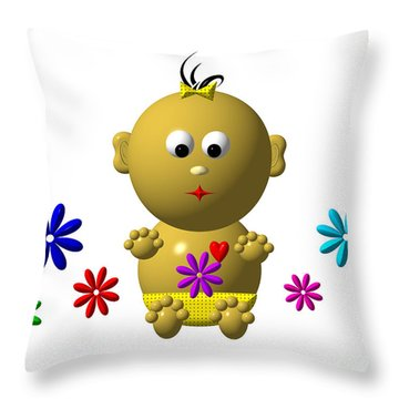 Bouncing Baby Girl With 7 Flowers Throw Pillow by Rose Santuci-Sofranko