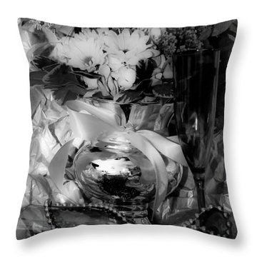 Bouquet And Beads Bw Throw Pillow by DigiArt Diaries by Vicky B Fuller