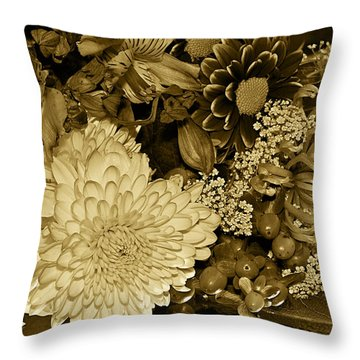 Bouquet In Sepia Throw Pillow by Phyllis Denton