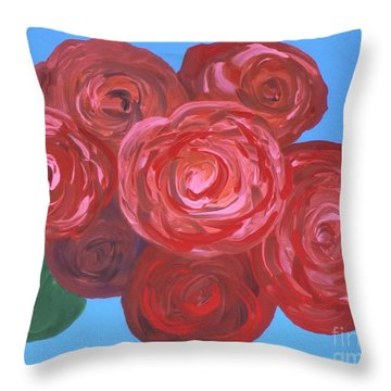 Throw Pillow featuring the painting Bouquet Of Roses by Alys Caviness-Gober