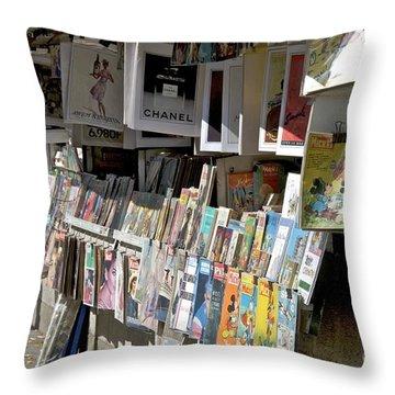 Bouquiniste Book Seller At Quays Of Seine Paris Throw Pillow by Bernard Jaubert