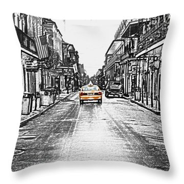 Bourbon St Taxi French Quarter New Orleans Color Splash Black And White Colored Pencil Digital Art Throw Pillow by Shawn O'Brien