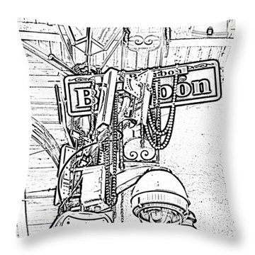 Bourbon Street Sign And Lamp Covered In Beads Black And White Photocopy Digital Art Throw Pillow by Shawn O'Brien