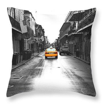 Bourbon Street Taxi French Quarter New Orleans Color Splash Black And White Film Grain Digital Art Throw Pillow by Shawn O'Brien