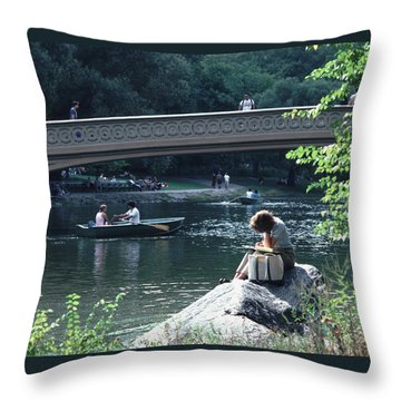 Throw Pillow featuring the photograph Bow Bridge In Central Park Nyc by Tom Wurl