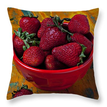 Bowl Of Strawberries  Throw Pillow by Garry Gay