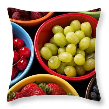Bowls Of Fruit Throw Pillow by Garry Gay