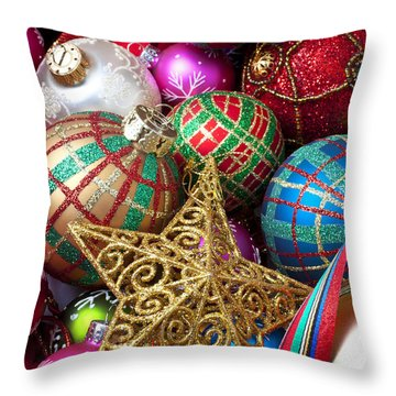 Box Of Christmas Ornaments With Star Throw Pillow by Garry Gay