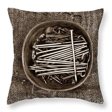 Box Of Tacks Throw Pillow by Bernard Jaubert