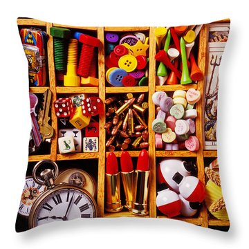 Box With Compartments Throw Pillow by Garry Gay