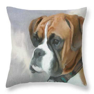 Boxer Throw Pillow by JG Keevil
