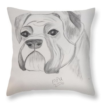 Throw Pillow featuring the drawing Boxer No Crop by Maria Urso