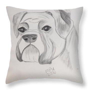 Boxer No Crop Throw Pillow by Maria Urso