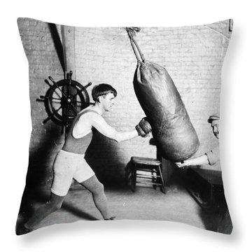 Boxing: Bat Nelson, 1920 Throw Pillow by Granger