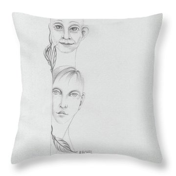 Boy And Girl Looking Over A Wall With Tree Leaves Large Eyes Straight Hair  Throw Pillow by Rachel Hershkovitz