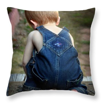 Boy In Overalls Throw Pillow by Kelly Hazel