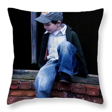 Boy In Window Throw Pillow