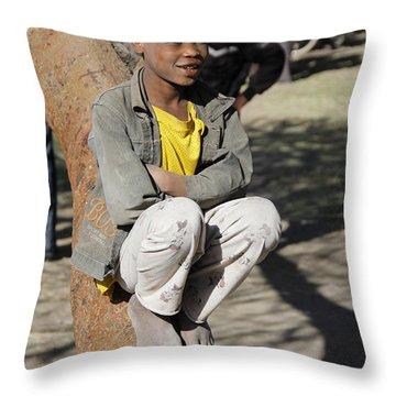 Boy In Zen Thought Throw Pillow by Robert SORENSEN