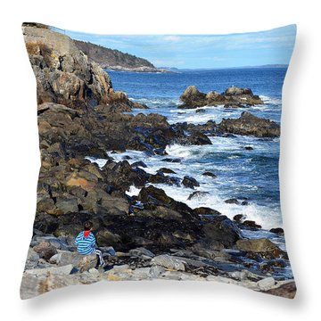 Throw Pillow featuring the photograph Boy On Shore Rocky Coast Of Maine by Maureen E Ritter