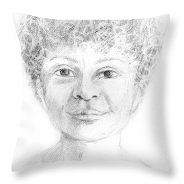 Boy Or Girl Woman Or Man African Or Asian Has Curly Hair Big Lips And A Big Head Throw Pillow by Rachel Hershkovitz