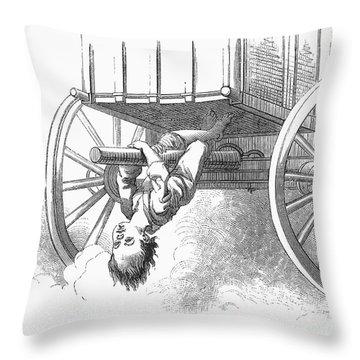 Boy Riding Under Wagon Throw Pillow by Granger
