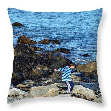 Throw Pillow featuring the photograph Boy Throwing A Stone Maine Coast by Maureen E Ritter