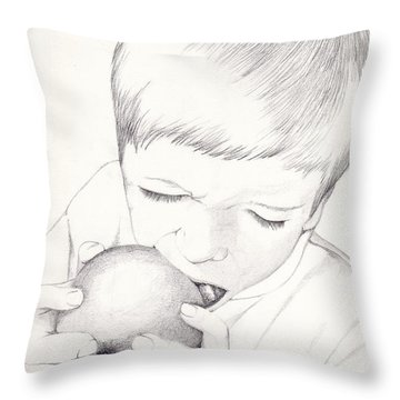 Throw Pillow featuring the photograph Boy With Apple by Kelly Hazel