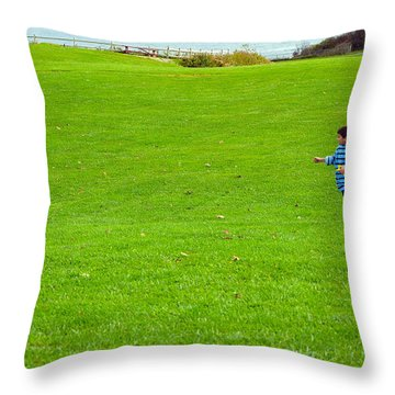 Throw Pillow featuring the photograph Boy With His Kite Maine by Maureen E Ritter