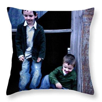 Boys In A Window Throw Pillow by Kelly Hazel